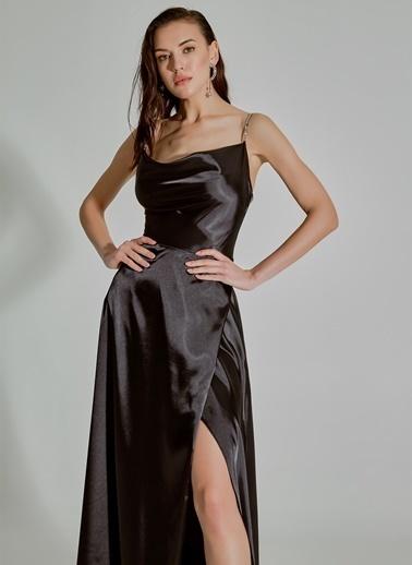 People By Fabrika Askılı Saten Abiye Elbise Siyah